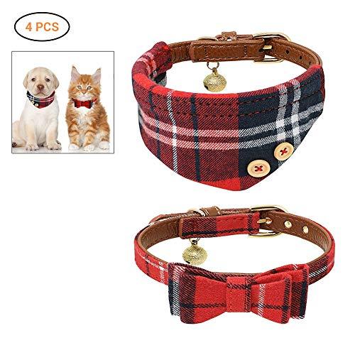 Comtervi Hundehalsband Leder Katze Halsband Verstellbare Hundehalsband mit Fliege Halstuch 2 Stücke für Kleine Hund, Welpen, Katze, Haustier