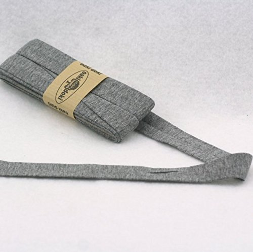 Oaki Doaki Jersey-Einfassband 3m, elastisches Schrägband, Breite: auf 2cm vorgefalzt, grau meliert (067)