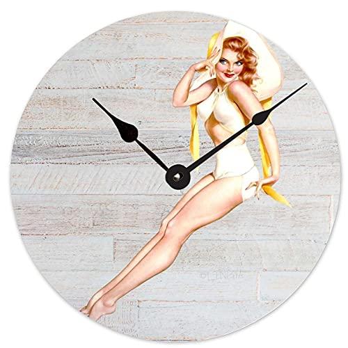 Toll2452 Reloj de madera redondo reloj de madera Pin Up Girl Retro Hombre Cueva 12 pulgadas reloj de madera decoración del hogar reloj de pared