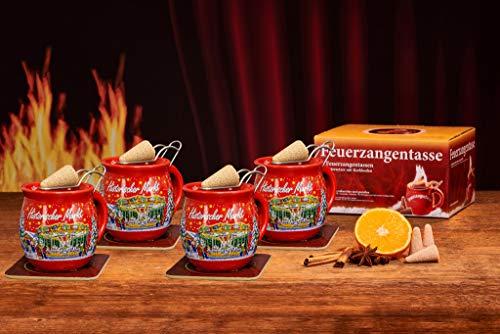 Feuerzangentasse 4er-Set, Rot/Historischer Markt - für Feuerzangenbowle