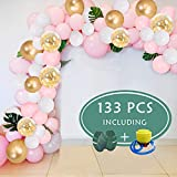 Best Pcs With Balloons Pumps - O-heart Balloon Arch Garland Kit 133 Pcs, Pink Review