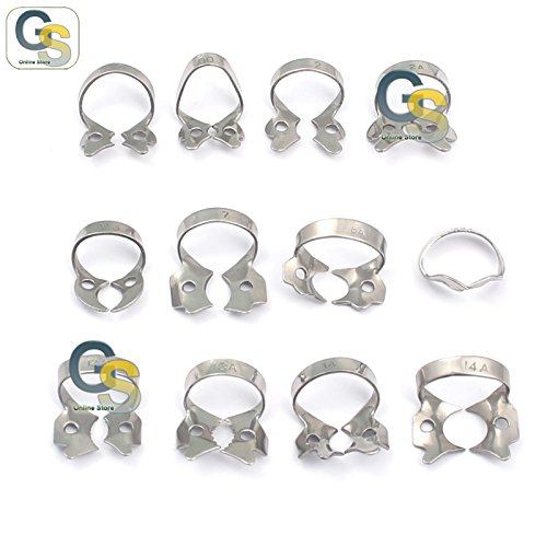 G.S Assorted Satin Steel Dental Rubber Dam CLAMP Set /12 Best Quality