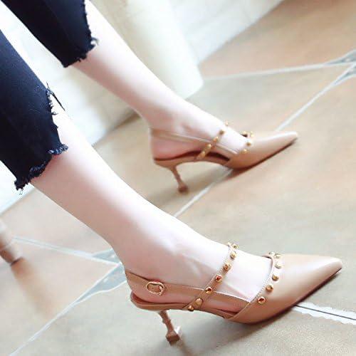 Xue Qiqi Cour Chaussures Sandales Chaussures de Danse à Rivets Attacher est Très Bien avec la Fille Sandales Tip Light-Chaussures Femme Simple,38, Beige