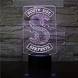 Insignia Riverdale Snake Logo 3D Led Night Light Southside Serpientes Decoración Signo Cosas Riverdale Accesorios Lámpara de mesa Color Gifthome Decoraciones de oficina Lámpara Armario