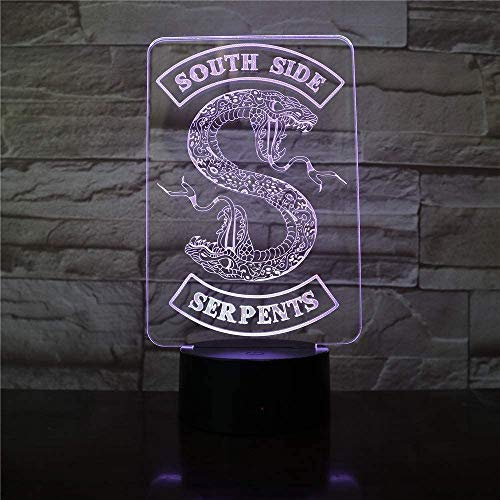 Badge Riverdale Snake Logo 3D LED nachtlampje Southside Snakes decor teken dingen riverdale accessoires tafellamp kleur Gifthome kantoor decoraties lamp kast