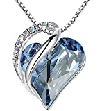 Leafael'Infinity Love' Heart Pendant Necklace Made with Swarovski Crystals Light Sapphire Blue March December Birthstone Jewelry Gifts for Women, Silver-tone, 18'+2', Presented by Miss New York