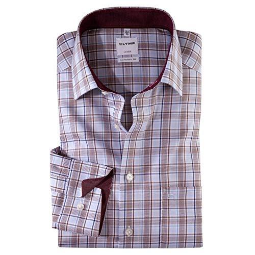 Olymp Check Long Sleeve Formal Cotton Shirt 20 Burgundy