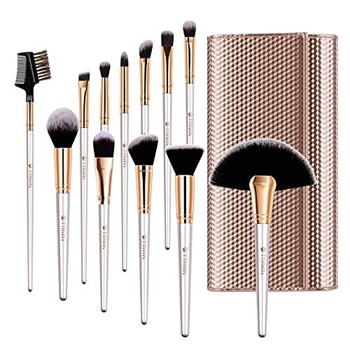 TTRWIN Set de Brochas de Maquillaje Profesional 12 Piezas Kit de pinceles de maquillaje Powder Blush sombras de ojos con Case esponja maquillaje