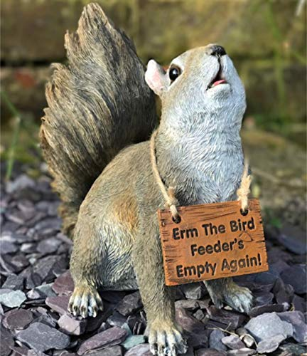 Animal Crackers Cute Squirrel with 'Bird feeders empty again' sign garden ornament decoration