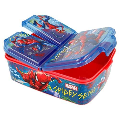 Marvel Spider-Man Kinder Premium Brotdose Lunchbox Frühstücks-Box Vesper-Dose mit 3 Fächern BPA-FREI