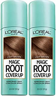 L'Oreal Paris Hair Color Root Cover Up Temporary Gray Concealer Spray Light Brown (Pack of 2) (Packaging May Vary)