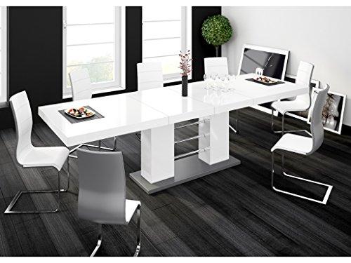H MEUBLE Table A Manger Design Extensible 210÷260 CM X P : 89 CM X H: 75 CM – Blanc