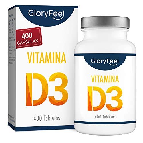 Vitamina D3 400 Tabletas Veganas (para 13 meses) - Dosis óptima con 1000 UI por día - Respalda huesos, dientes, músculos y sistema inmunológico*