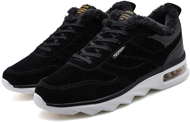 RYRYRB Herrenschuhe Winter Gezeiten Schuhe Laufschuhe Freizeitschuhe Herren Sportschuhe Baumwollschuhe sowie warme Samtschuhe Einfache und Bequeme Freizeitschuhe (Farbe   schwarz, Größe   39 EU)
