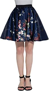 Artdresses Womes Floral Circle Skirts Printed Skirt Navy Blue with Flowers