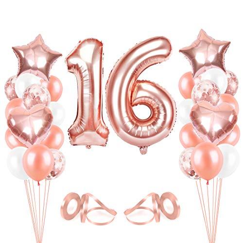 16er Cumpleaños Globos, Decoración de cumpleaños 16 en Oro Rosa, Feliz cumpleaños Decoración Globos 16 Años, Globos de Confeti y Globos de Aluminio para niñas y Mujeres