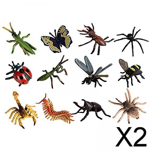 lahomia Modelo de Animales de Insecto 2X Figurines - 12 Piezas de Colección Spider Scorpion Bugs