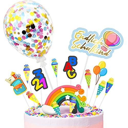 iZoeL Tortendeko Einschulung Schulanfang Kuchen Deko Schulkind Topper Regenbogen Konfetti Ballon Schultüte Tortenaufsätze für Kinder Mädchen Junge