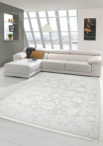 Merinos Vintage Teppich modern Wohnzimmerteppich Designteppich mit Fransen in Creme Größe 200 x 290 cm