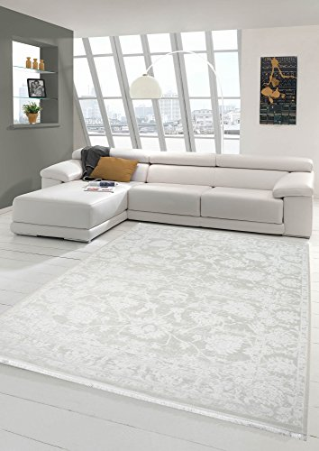 Merinos Vintage Teppich modern Wohnzimmerteppich Designteppich mit Fransen in Creme Größe 120x170 cm
