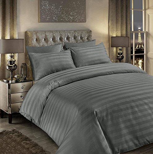 EHD 500 Thread Count Satin Stripes Super Soft Luxurious 100% Egyptian Cotton Hotel Quality Duvet Cover Sets Reversible Bedding Sets (Grey, Double)