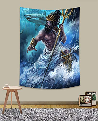 UHOMETAP Poseidon Tapestry Wall Hanging, Greek Mythology Marine Trident Tapestry, Bedroom Living Room Porch Decor 40X60 Inches GTZYUH156