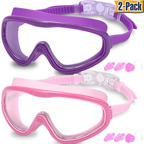EasYoung Schwimmbrille für Erwachsene, 2er-Pack, Keine undichte Schwimmbrille Anti-Fog-UV-Schutz, Weitsicht-Schwimmbrille mit Nasenclips Ohrstöpsel für Männer Frauen Jugend, über 15 Jahre