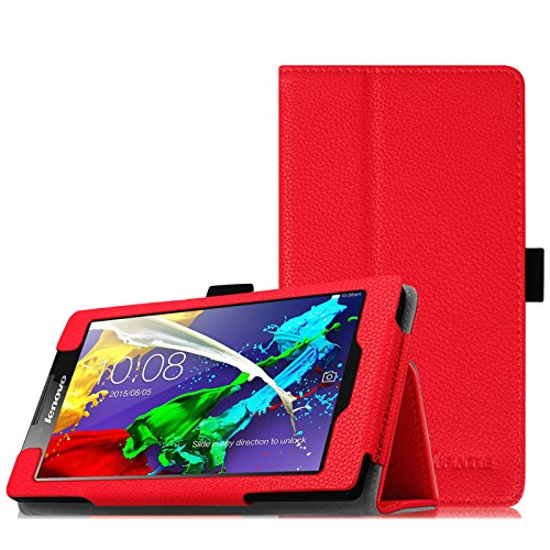 Fintie Lenovo Tab 2 A7-10 Hülle Case - Folio Premium Kunstleder Schutzhülle Tasche Etui Cover mit Standfunktion Stylus Loop für Lenovo Tab 2 A7-10 17,8 cm (7 Zoll) IPS Android Tablet, Rot