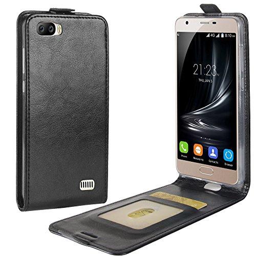 95Street Handyhülle für Blackview A7 Schutzhülle Book Case für Blackview A7, Hülle Klapphülle Tasche im Retro Wallet Design mit Praktischer Aufstellfunktion - Etui Schwarz