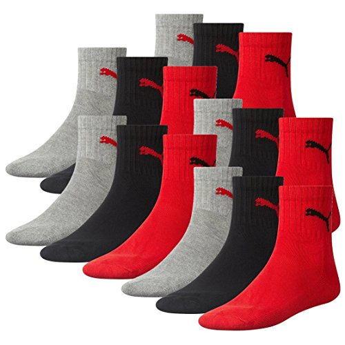 PUMA Unisex Short Crew Socks Socken Sportsocken MIT FROTTEESOHLE 12er Pack (43-46, Black/Red (232))