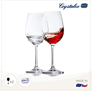 Red Wine Glasses Set Of 2, Long Stem, Durable Wine Glasses - Best For Burgundy, Bordeaux, Merlot, Red Or White Wine, Crystal Clear Universal Wine Glass By Crystalex Turbulence, 11.8 Ounces