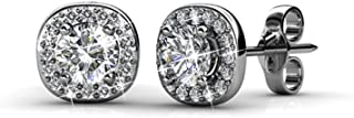 Cate & Chloe Ruth 18k White Gold Plated Halo Studs with Swarovski Stones, Best Silver Earrings for Women, Beautiful Trendy Silver Stud Earring Set, Solitaire Earrings with Swarovski Crystals