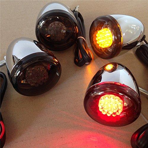 Motocicleta cromo Kit de motocicleta señales de giro para Harley Davidson Bullet LED 41mm