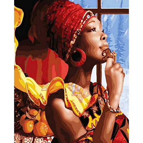 mlpnko Digitale Malerei DIY sexy afrikanische Schönheit Frau Figur Leinwand Hochzeit Dekoration Kunst Bild 40X50cm Rahmenlos