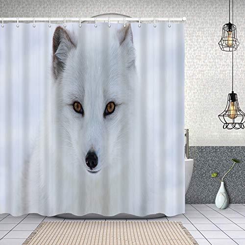 Duschvorhang,Polarfuchs auf Schneehintergrund,Enthält 12 Duschvorhanghaken waschbar,Wasserdicht Bad Vorhang für Badezimmer Badewanne 180X180cm