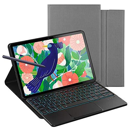 Cubrir con Teclado Deutsche Backlit Funda de Teclado para Samsung Galaxy Tab S7 + 12.4 / S7 11 Tablet Cover Backlight Alemania Bluetooth Keyboard Funda Daluo (Color : Gray, Size : Tab s7)