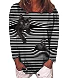 HAHAEMMA Sudadera para mujer con diseño de gato, jirafa, pollo, conejo, animales, manga larga, cuello redondo, camiseta de manga larga Negro XXXL