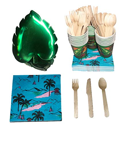 Hawaiian Luau Party Supplies | BioDegradable | ZERO PLASTIC! - Serves 25 People : 25 Embossed Palm-Leaf Shaped Plates, 25 Tiki Cups, 40 Flower Napkins, 25 Set of Bamboo Fork, Knives, and Spoons