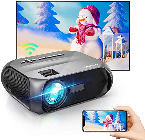 Bomaker Wi-Fi Mini Projector, Native 1280x720P Portable Projector for Outdoor Movies, Full HD 1080P Supported Outdoor Projector,Wireless Mirroring by WiFi/USB Cable, for iPhone/Android/Laptops/Windows