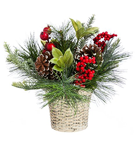 "Cypress Home Holly and Pinecone Tabletop Floral Decor 10"" Tall"