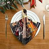 Serviettes colorées pour les fêtes Jazz Rock Guitare électrique cool pour garçon Serviettes souples en tissu lavable 20 X 20 pouces pour les dîners de famille, mariages, cocktails, décoration de vais