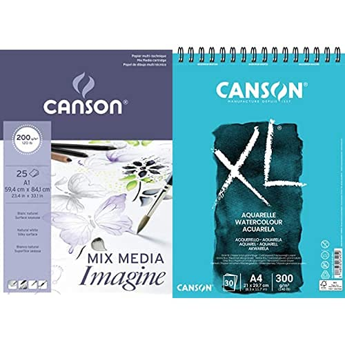 Canson - Bloc A Dessin Imagine, Format A1, 200 G/M2 + Xl Aquarelle, Álbum Espiral Microperforado, A4, 30 Hojas, Grano Fino 300G