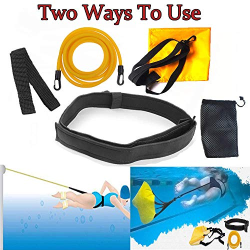Swim Training Belts, 3.0M Swim Trainer Tether Stationary Swimming with Swim Parachute, Swim in Place Harness Static Swimming Belt, Swim Bungee Cords Resistance Bands