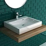 Alpenberger Aufsatz&Wandhängendes Waschbecken 50x42 cm mit integriertem Überlaufschutz