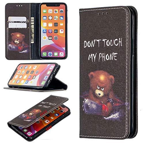 Funda para iPhone 11 Pro, 3D Art a prueba de golpes, de piel sintética suave, absorción de golpes, con función de soporte, ranura para tarjeta de identificación, funda protectora delgada, oso