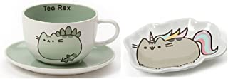 Enesco Pusheenosaurus Tea Cup and Saucer bundle with Pusheenicorn Tea Bag Tray