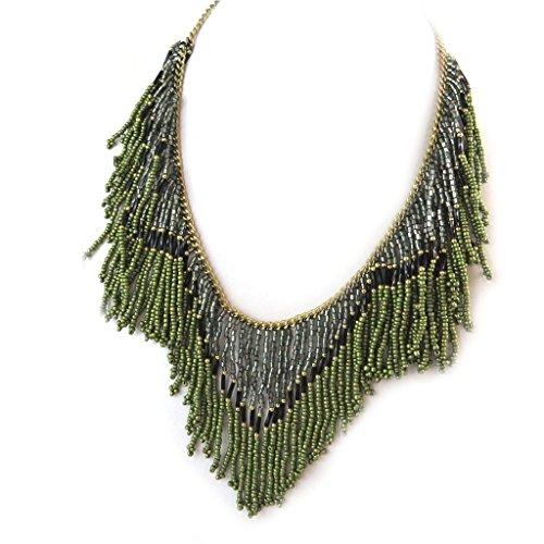 Les Trésors De Lily [N8138] - Schöpfer collier 'Kilimanjaro' grau grün.