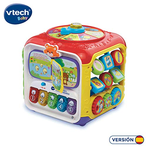 VTech - Divercubo descubrimientos, Cubo multiactividades para Explorar 6 Formas de Juego en Sus 5 Lados interactivos, Libro Musical, Teclas de Piano, Piezas encajables, Colores, Animales (80-183422)
