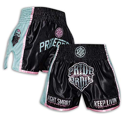 Pride or Die Muay Thai Shorts Z-Camp - Pantalones tailandeses para hombre con tejido de malla, Thaiboxen, todo el año, Hombre, color Negro , tamaño large