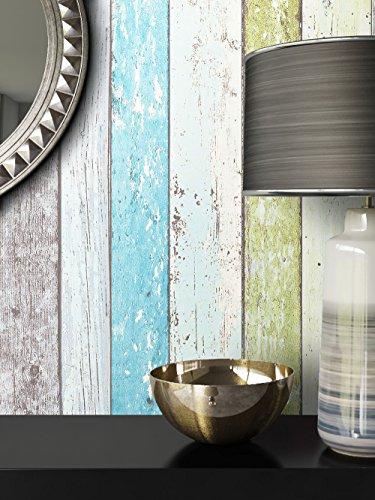 Holz-Muster-Tapete Vlies Grün Blau Beige Edel | schöne edle Tapete im Holzwand-Design | moderne 3D Optik für Wohnzimmer, Schlafzimmer oder Küche inkl. Newroom-Tapezier-Profibroschüre mit super Tipps!